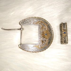 Vintage Silver Plated and Brass Belt Buckle Set